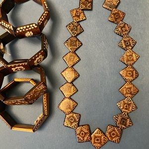 African hand carved bracelets and necklace